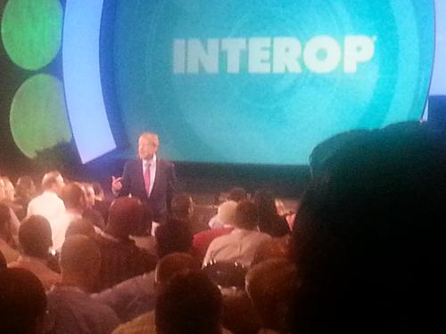 Cisco CEO John Chambers did most of his Tuesday Interop & ESDN keynote in amongst the crowd.